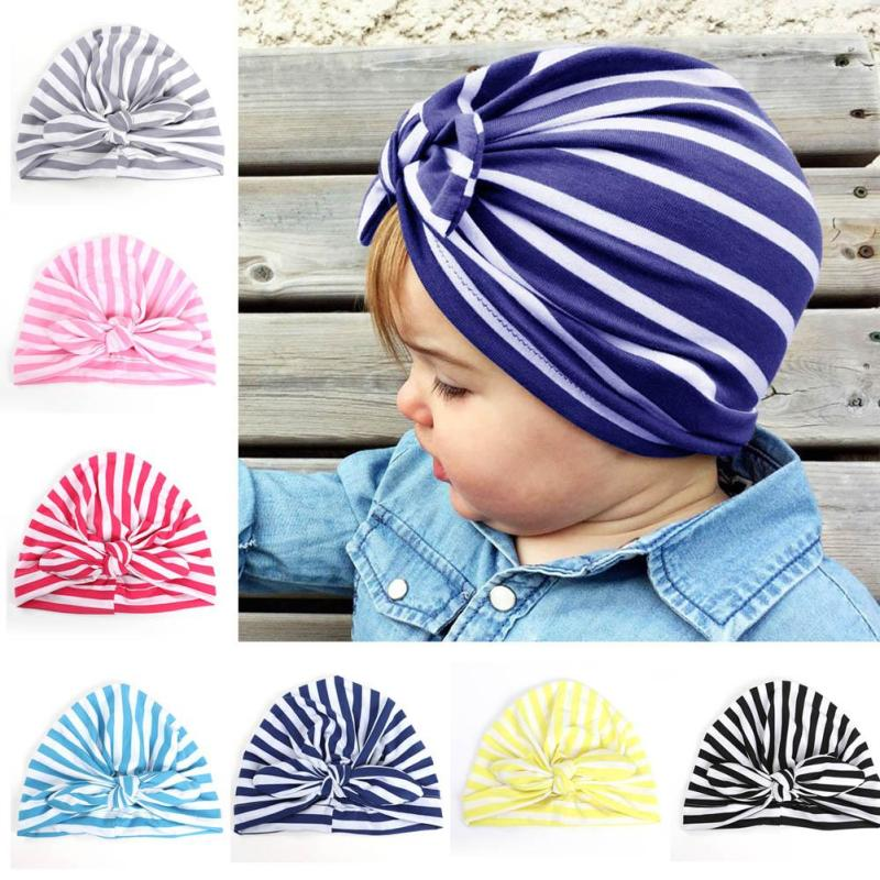 Solid Baby stripe Turban Hat with Bow Boys Girls Soft Cotton Beanies Cap Rabbit Ear Jersey Knit Baby Hat Infant Gift A4