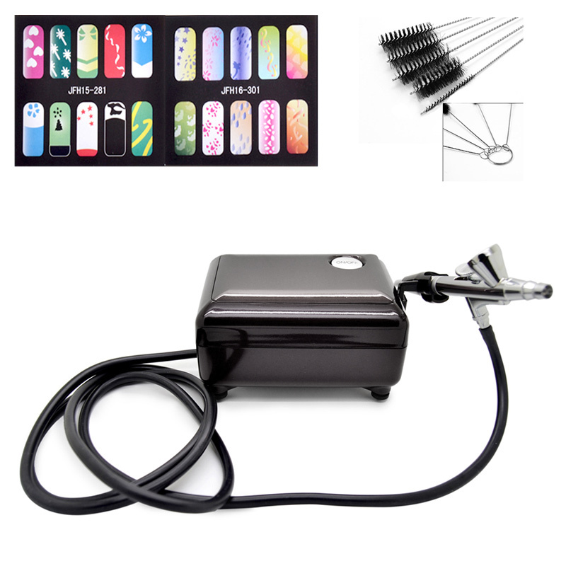 Full Set Airbrush Kit Pen Body Paint Makeup Spray Gun for Nail Paint with 5 pcs Cleaning Brush,Air Compressor, Horse,2 Stencil
