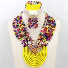 Top Quality African Crystal Beads Necklace Wedding Bridal Jewerly Set Fashion Women Costume Jewelry Set Free Shipping ABY011