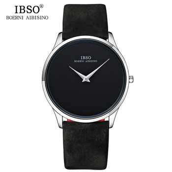 IBSO 7mm Ultra thin Mens Watches Top Brand Luxury Leather Strap Simple Quartz Watch Men Simple Style Relogio Masculino guanqin fashion men watch luxury brand ultra thin quartz watch men simple waterproof leather strap wristwatch relogio masculino