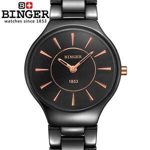 Image 4 - Switzerland luxury brand womens watches  Binger ceramic quartz Wristwatches fashion lovers style Water Resistant clock B8006 6