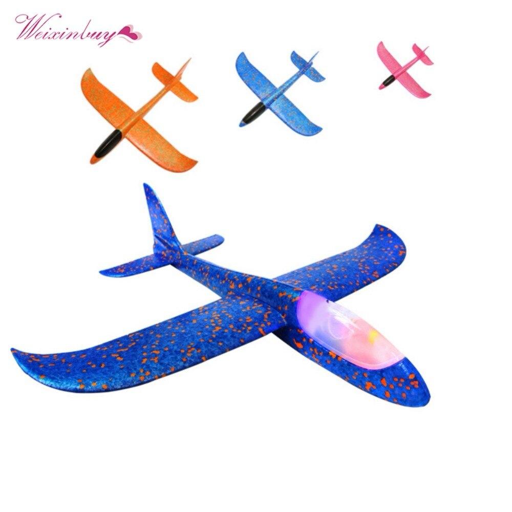 48 см светодио дный свет пены бросали планер самолет инерции игрушка ручной запуск мини высокое качество