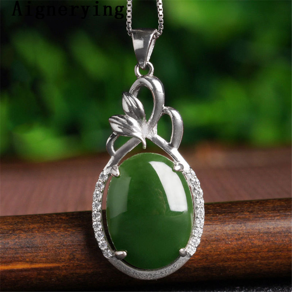 Para Vintage Pendant Necklace Certificate 925 silver Natural Green Jade Zircon Inlaid Craft Cute For Woman Gift with Box  figurePara Vintage Pendant Necklace Certificate 925 silver Natural Green Jade Zircon Inlaid Craft Cute For Woman Gift with Box  figure