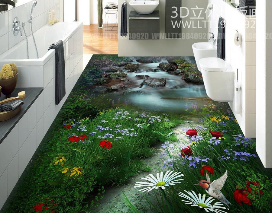 ФОТО PVC Floor Wallpaper Room Muarls Custom landscape flower HD 3D Photo Wallpaper Floor Bathroom Self-adhesive Waterproof Wallpaper