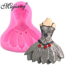Mujiang DIY Düğün Elbise Silikon Kalıplar Cupcake Fondan Kek Dekorasyon Araçları Şeker Fimo Kil Çikolata Gumpaste Kalıpları