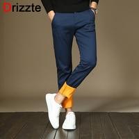 Drizzte Mens Fleece Stretch Slim Fit Dress Pants Flannel Lined Black Blue Trousers Casual Slacks Pants
