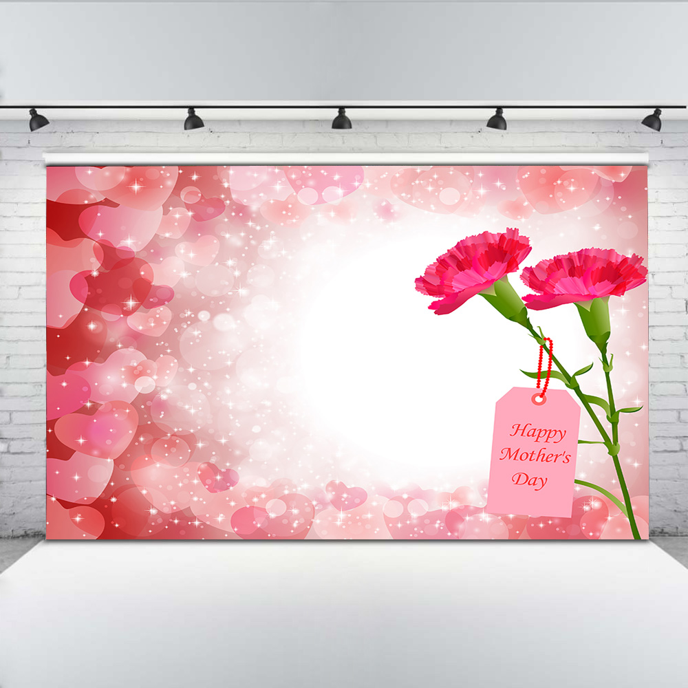 Mehofoto Happy Mothers Day Photography Backdrops Red Carnation Background for Mother Support Writing to the