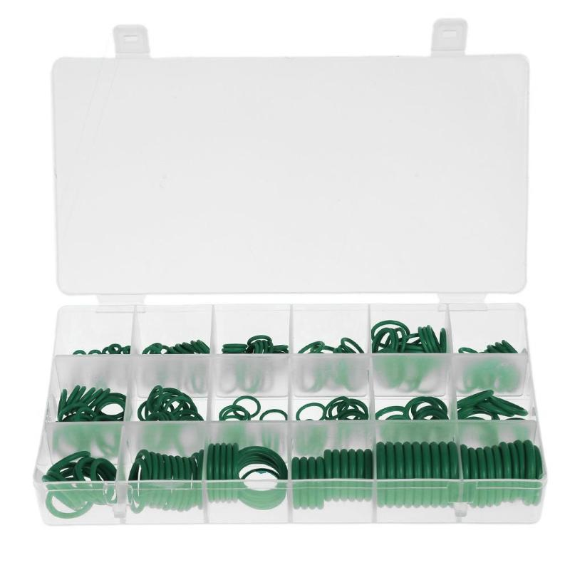 Rubber 270pcs/set 18 types Rubber Car A/C Air Conditioning Refrigerant Seal O-Rings Green Case of Rubber Seal Rings