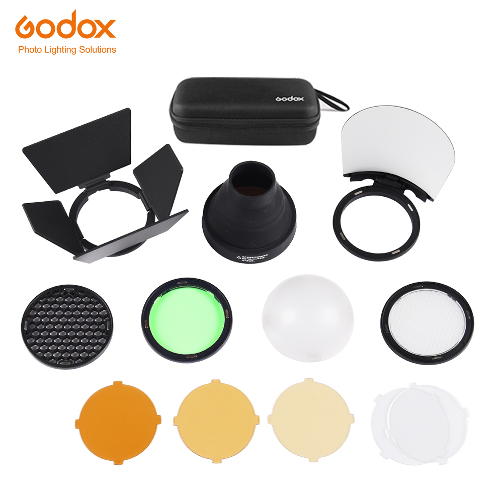 Godox AK-R1 Barn Door, Snoot, Color Filter, Reflector, Honeycomb, Diffuser Ball Kits for Godox AD200 H200R Round Flash Head