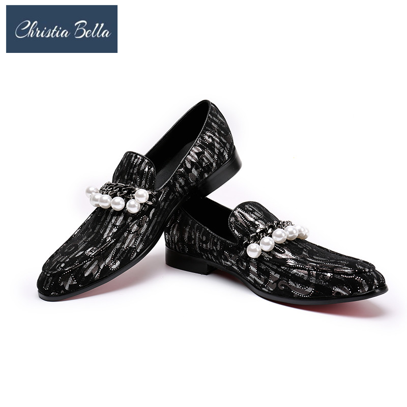 Christia Bella Punk Mens Floral Wedding Shoes Genuine Leather British Dress Formal Casual Pointed Toe Loafers with Pearl ChainChristia Bella Punk Mens Floral Wedding Shoes Genuine Leather British Dress Formal Casual Pointed Toe Loafers with Pearl Chain
