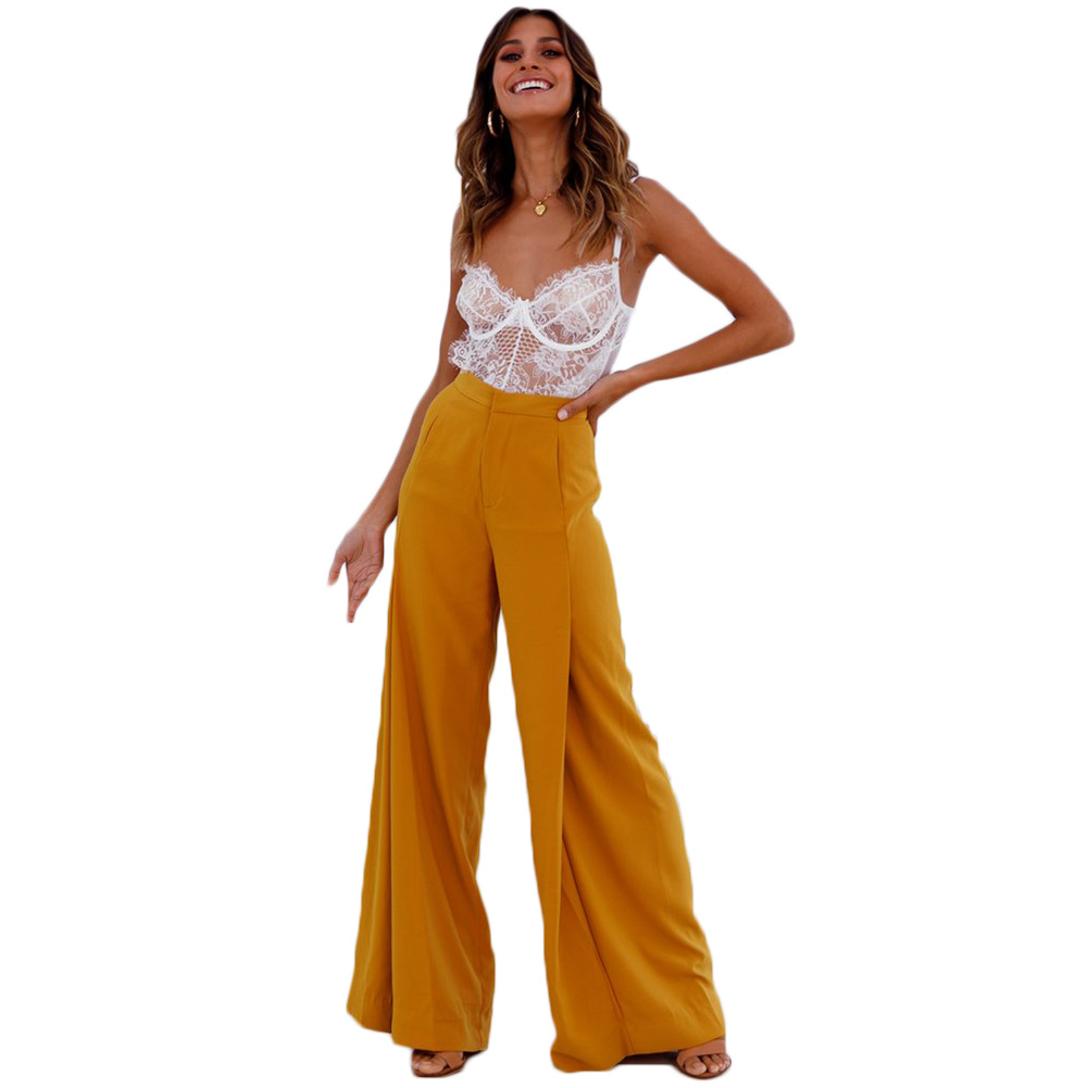 2018 Fashion women   wide     leg     pants   yellow white palazzo   pants   ladies OL Loose high waist   pants   casual trousers women flare   pants