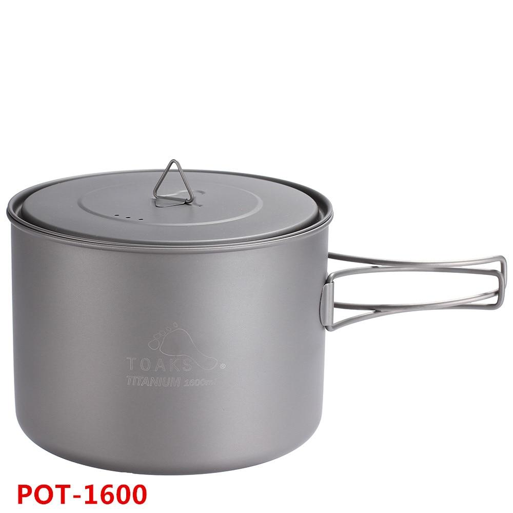 TOAKS 1300 1600ml Cookware Pot Ultralight Titanium Pot Outdoor Titanium Bowl Titanium Cup Folding Handle For