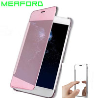 Smart Flip Mirror Case For Huawei Honor 8 Lite Luxury Clear View Leather Cover For Huawei