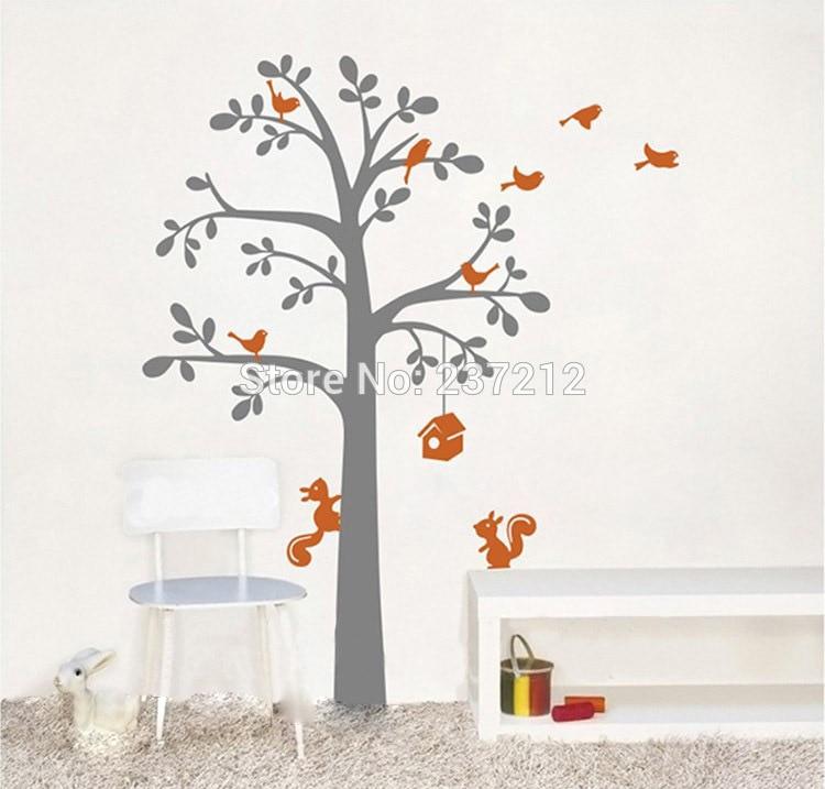 Nouveau amovible arbres et oiseaux et écureuil vinyle Stickers muraux enfants bébé chambres décoration, papier peint mural
