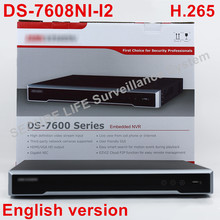 In stock DS-7608NI-I2 English version 2SATA ports 8ch NVR NON POE, supporting third-party camera, plug & play NVR 8ch H.265