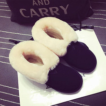 Women's Winter Flats Snow Boots Brand Designer Slip-on Ankle Boots Genuine Suede Leather Short Booties Cold Winter Shoes Women