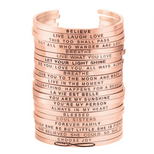 Inspirational rose gold stainless steel custom bracelet women cuff band engraved positive phrases mantra bangle best friend gift