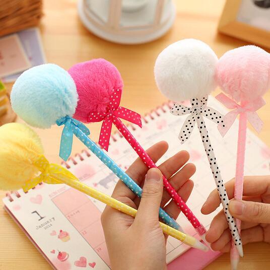 1pcs/lot  soft Plush Ball pen Ribbon BallPoint Pen Stationery  office and school supplier Princess fashion gift