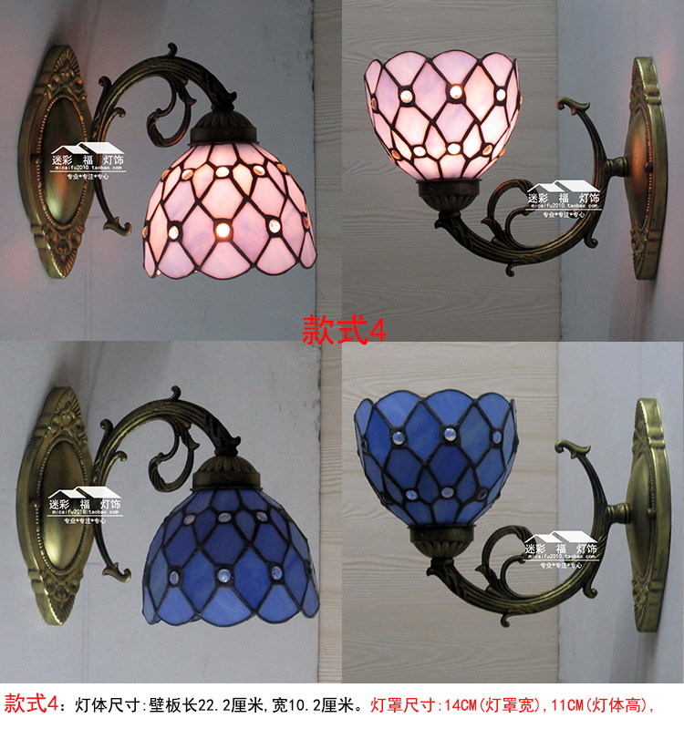 tiffany fashion mirror wall lamp Baroque Bohemia light rustic bed lighting corridor lamps