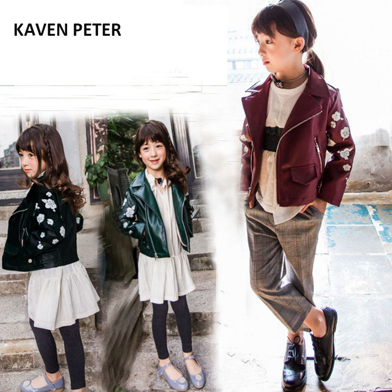 leather jacket fashion kids faux leather jacket children green wine red pu leather jacket boys girls flower print coat zipper zip up faux leather jacket with pockets