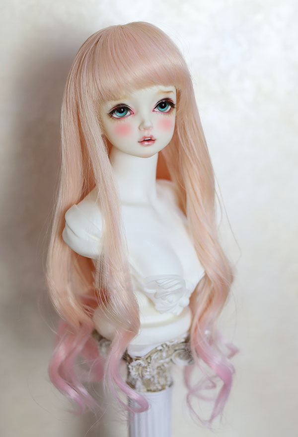 BJD Doll Wigs Peach Color Gradient Pink Mixed Long Curly Wigs For 1/3 1/4 BJD DD SD MSD YOSD Doll High-temperature Wire Wigs