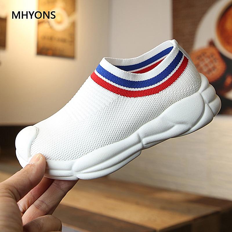 MHYONS/Новая детская повседневная обувь, уличные Нескользящие вязаные детские носки, обувь для девочек, кроссовки для бега для мальчиков, повс...