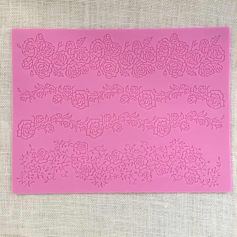 Новый большой розовый лист кружева силиконовые формы Сахар ремесло кружева коврик торт вокруг края украшения инструмент