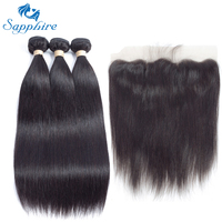 Sapphire Remy Hair Malaysian Human Hair Weave 3 Bundles With 13x4 Lace Frontal Straight Human Hair
