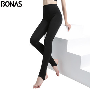 Image 2 - BONAS 2Pcs Women Big Size Warm Leggings Fitness Soft Black Color Leggins Female Velvet Leggings Elasticity Warm Winter Legging