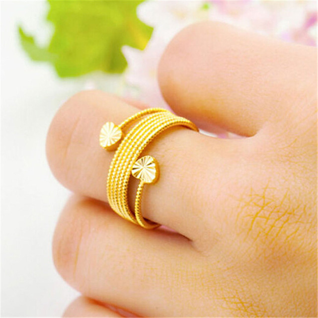 3Pcs/Lot real 24k Gold Plated Copper Wire Round Knuckle Ring Fashion ...