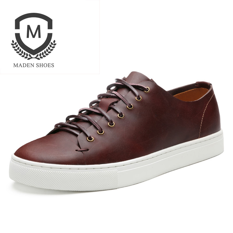 Maden Vintage Sporty Men Sneakers Lace-up Shoes Retro Waxy Leather Britain All-matching Korean Style Casual Black White Brown