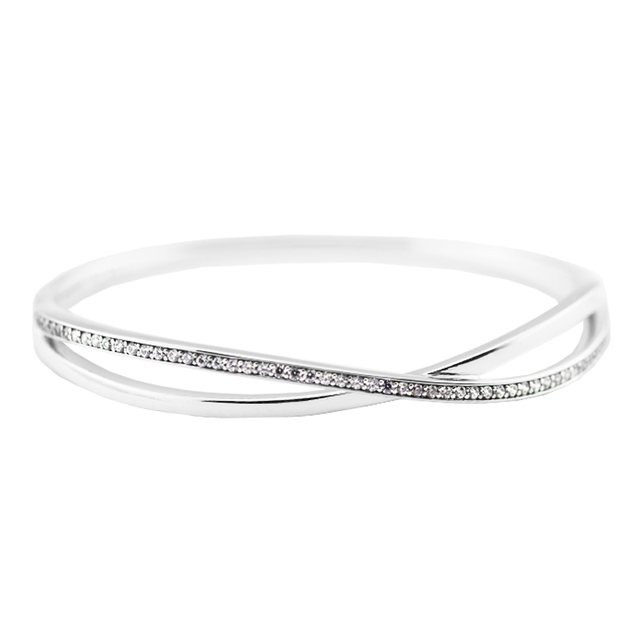 2016 Winter clip bangle Original 100% 925 sterling silver bracelet with Clear Cz European style DIY jewelry wholesale K0013