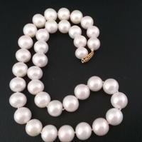 Jewelry 11 12mm Natural south sea white pearl necklace 17.5inch 14 yellow gold clasp