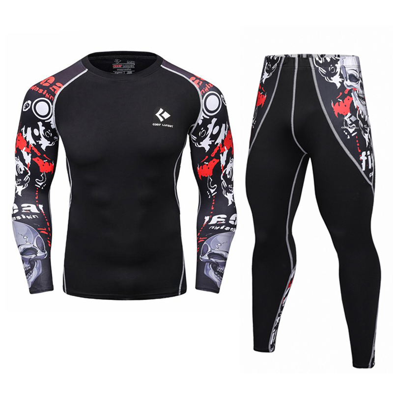 Mens Compression T Shirt Set Bodybuilding Tight Maniche lunghe Camicie Leggings MMA Abbigliamento allenamento Crossfit Fitness MMA