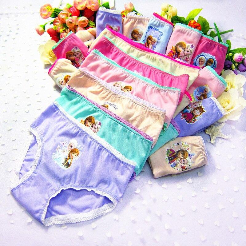 12pcs/Set Underwear 2-12T Anna Elsa Girls Fashion Cartoon   Panties   Underwear Cute Soft Cotton Girls Briefs Lovely Underpants
