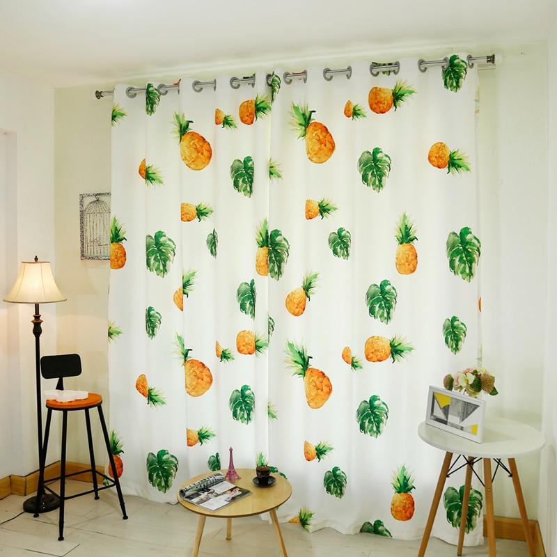 3D Blackout Curtains Cartoon Fruit Pineapple Watermelon