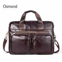 Men's Briefcase Tote Genuine leather Handbag Vintage Laptop Document Case Business Briefcase Messenger Shoulder Bags Men's Bag