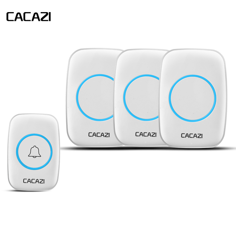 CACAZI Waterproof cover Wireless Doorbell ring 300M Remote EU/US Plug home smart Door Bell 110V-220V 3 receivers with battery cacazi waterproof cover wireless doorbell ring 300m remote eu au uk us plug home smart door bell 110v 220v 2 button 3 receivers page 7