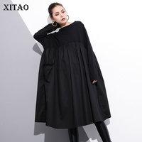 [XITAO] Women Autumn 2018 Korea Fashion O neck Full Sleeve Loose Dress Female Solid Color Patchwork Knee length Dress GWY2431