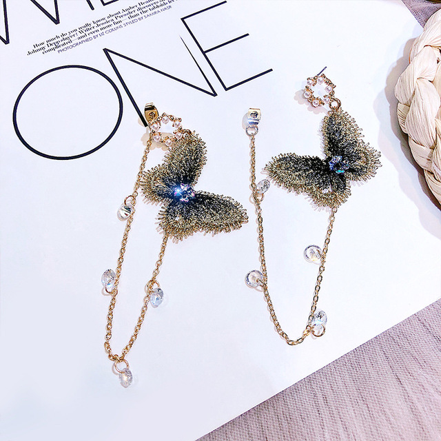 New Arrival Zinc Alloy Trendy Women Butterfly Dangle Temperament Earrings Women's Earrings Long Wholesale Earrings  Accessorie