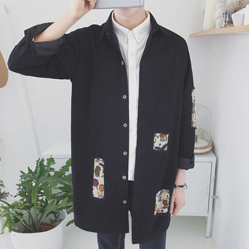 2018 Autumn Japan Style Original Patchwork Turn Down Collar Holes Men Parkas Casual Cotton Long Sleeve Male Windbreaker M-2XL