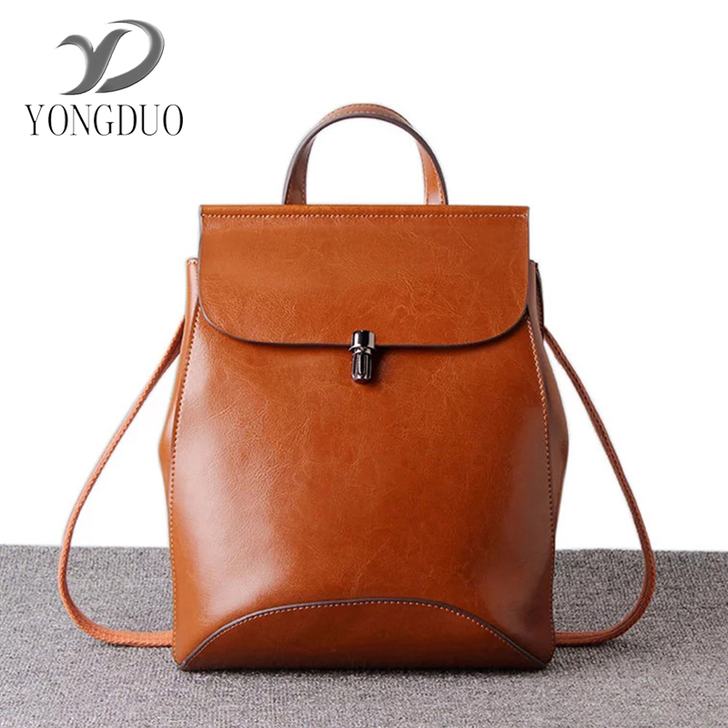 YONGDUO  Famous Brand genuine leather bag Backpack Women Backpacks Solid Vintage Girls School Bags for Girls Black