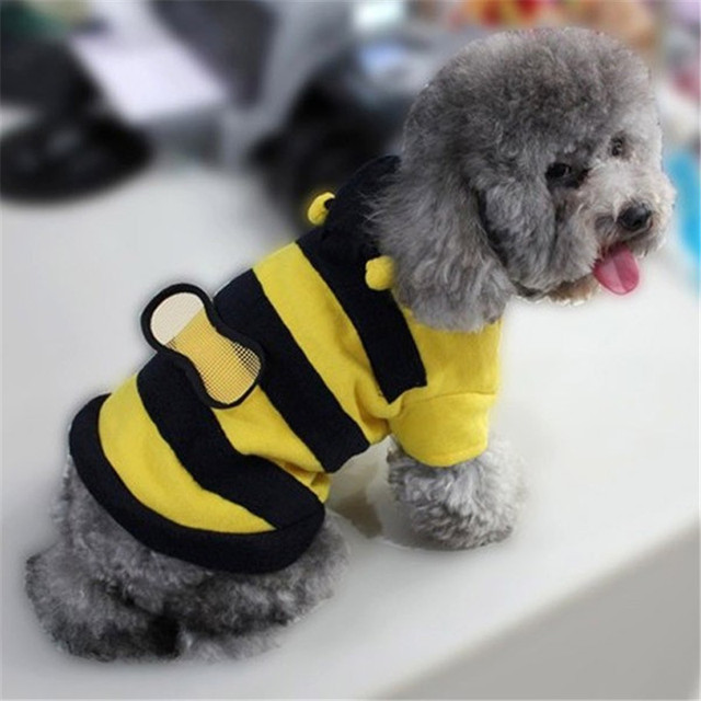 42002079e948 2017 New Pet Dog Cat Bumble Bee Wings Fleece Hoody Coat Costume ...