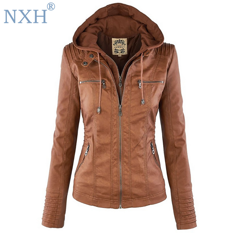 NXH 2018 Winter Faux Leather   Jacket   Women Casual   Basic   Coats Plus Size 7XL Ladies   Basic     Jackets   hooded clothes velvet   jacket