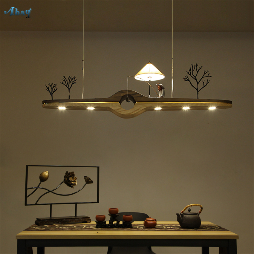 Us 317 8 30 Off New Chinese Solid Wood Pendant Lights Kitchen Dining Room Table Lighting Restaurant Study Teahouse Desk Hanging Lamps Fixtures In