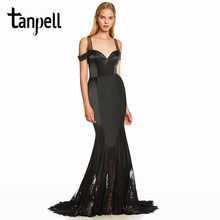 Tanpell straps evening dress black off the shoulder floor length sweep train gown cheap women formal long lace evening dresses(China)
