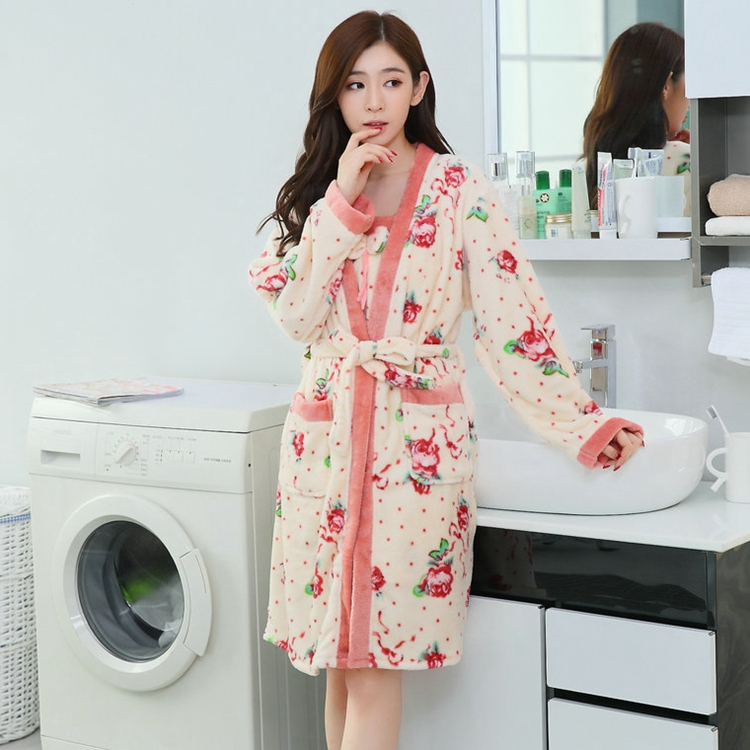 2PCS Sexy Thick Warm Flannel Robes Sets for Women 2018 Winter Coral Velvet Lingerie Night Dress Bathrobe Two Piece Set Nightgown 243