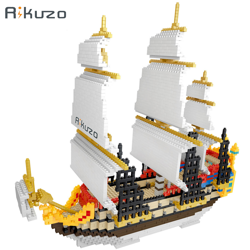Rikuzo Medieval Carrack Ship Model Building Block Set 3000pcs Big Ship- Nano Micro Blocks legoing DIY Toys Gift