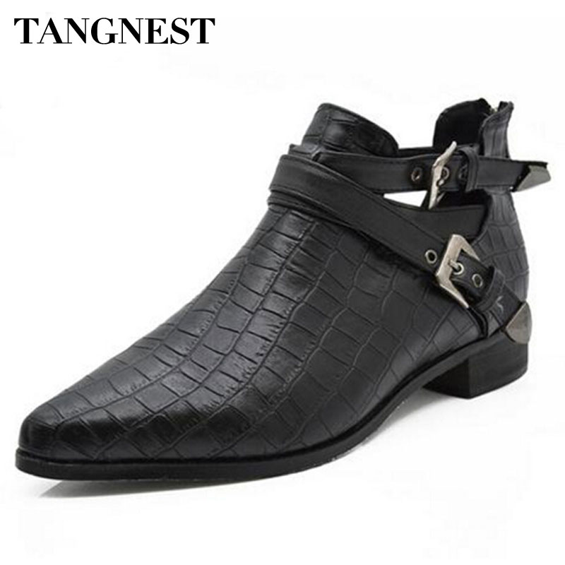 Tangnest Women Martin Boots 2017 Fashion PU Leather Crocodile Pointed Toe Ankle Boots For Spring Autumn Women Flat Shoes,XWX1312 2017 autumn fashion boots sequins women shoes lady pu leather white boots bling brand martin boots breathable black lace up pink