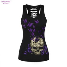 Women Fitness Jerseys Butterfly Print T-shirt O-neck Black Cut Out Gym Sports Tee Tops Sleeveless Tank Tops Vest Blouse For Yoga plus size round neck cut out t shirt
